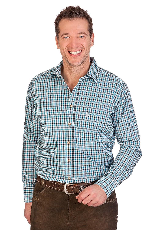 H1409 - Trachtenhemd mit langem Arm - SLIM - hellgrün, rot, türkis