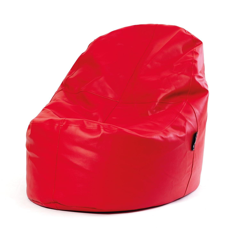 MiPuf - Puff Lounge Original - 80x115x90 cm - Tejido Polipiel Alta Resistencia - Doble Costura y Doble Cremallera - Relleno Incluido - Rojo - 4 años ...