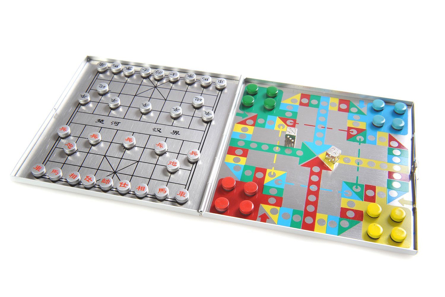 Azerus Alu Line: 4-in-1 game set A - Xiangqi, Mensch-ärgere-dich-nicht (Do not get angry), Halma / Chinese Checkers, Solitaire (Peg Solitaire or Sailor's Solitaire), with magnetic game pieces, playing board 10,5cm x 10cm x 0,6cm (XY042P4 DE)