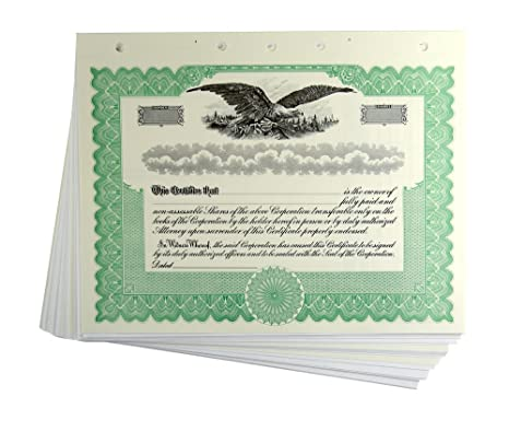 Amazon.com : Blank Green Stock Certificates with Stubs for ...