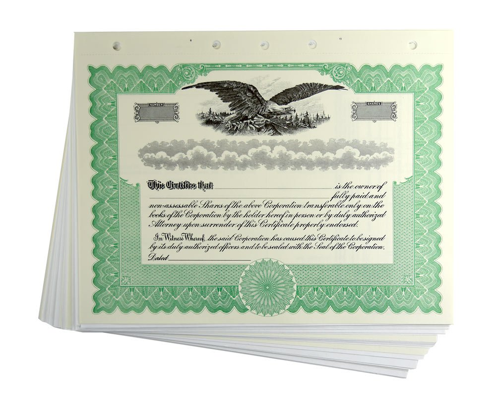 Blank Green Stock Certificates with Stubs for Corporations