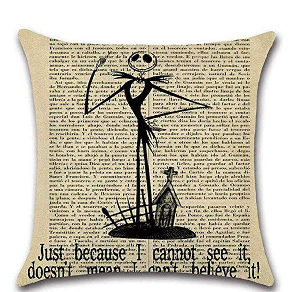 LoveHome Decor 4 Pack Halloween Decoration Series Throw Pillow Covers,Vintage Newspaper The Witcher Skull Pillow Case Cushion for Halloween Thanksgiving Christmas Autumn,Cotton Linen,18 x 18 inch