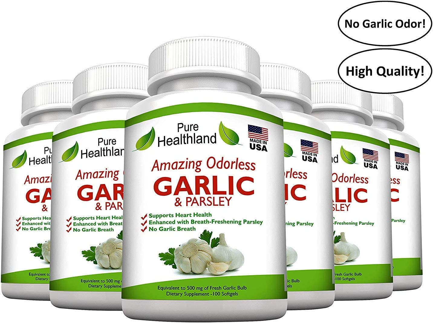 Amazing ODORLESS Garlic and Parsley Supplement Softgels for Men and Women. Equal to 500mg Fresh Garlic Bulbs. Best Garlic Pills. Allium Sativum. Made in USA