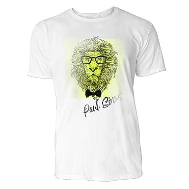 f812d8f18d7ef3 Sinus Art Hipster Löwenkopf mit Brille und Fliege Herren T-Shirts in Weiss  Fun Shirt