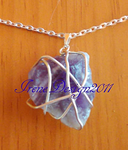 Silver Wrapped Amethyst Necklace by IreneDesign2011