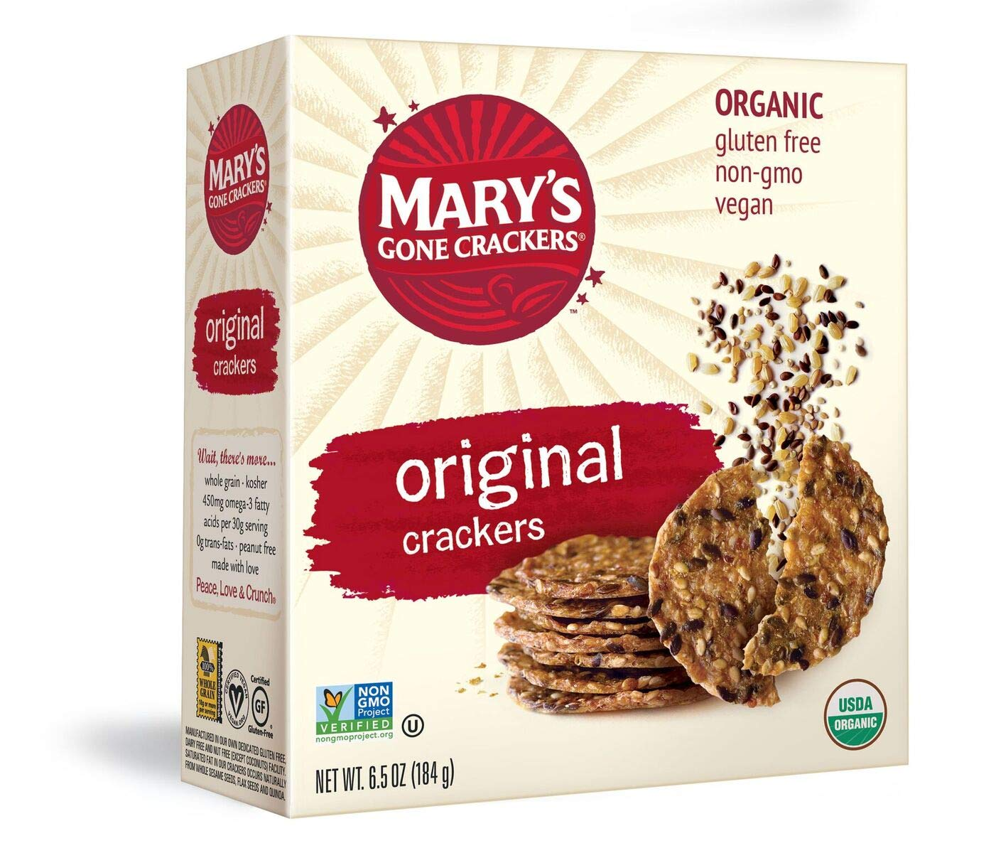 Mary's Gone Crackers Original Crackers, Organic Brown Rice, Flax & Sesame Seeds, Gluten Free, 6.5 Ounce (Pack of 6) by Mary's Gone Crackers