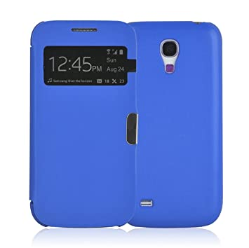JAMMYLIZARD Galaxy S4 Mini Carcasa, Funda Flip Cover Case [Smart View] con Tapa Cierre Magnético para Samsung Galaxy S4 Mini, Azul