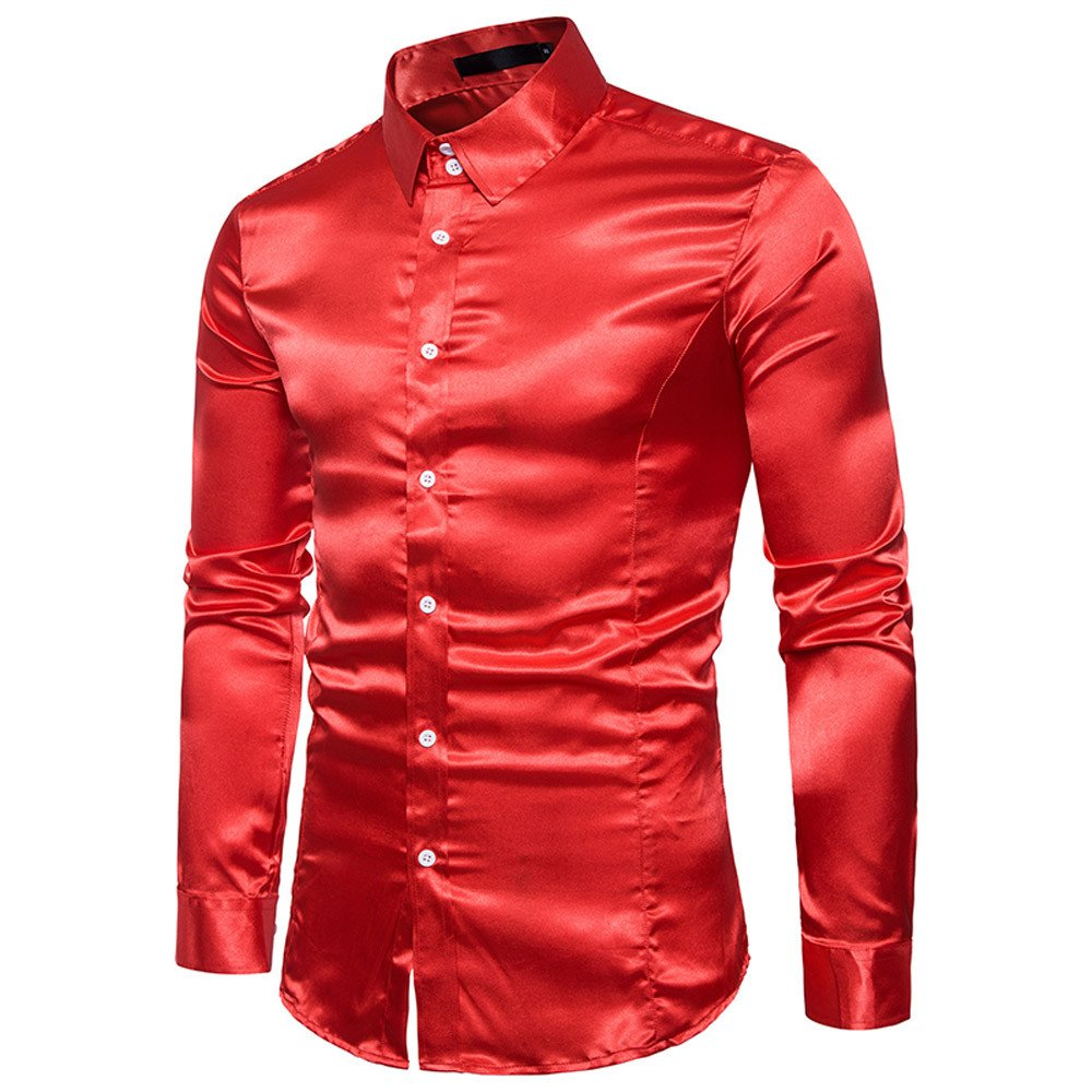 Fashion Shirt Personality Men Casual Top Slim Long-Sleeved Blouse