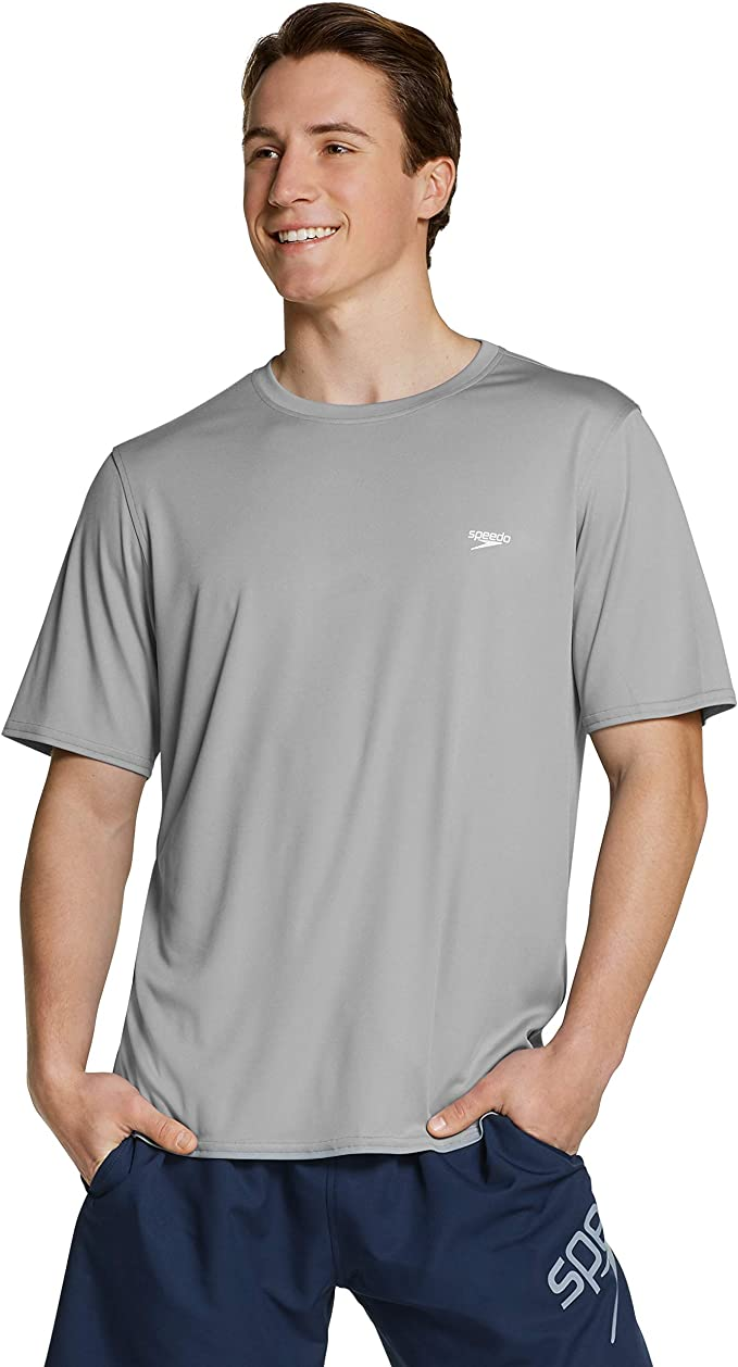 Speedo Mens Uv Swim Shirt Short Sleeve Loose Fit Easy Tee