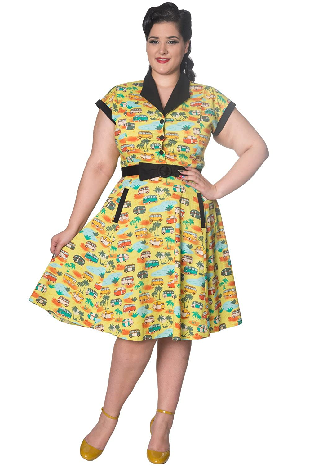 What Did Women Wear in the 1950s? Banned Starlight Plus Size Vintage Retro Womens Dress $67.95 AT vintagedancer.com