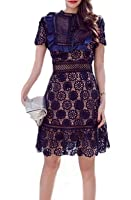 Celebritystyle embroidered ruffle lace dress See measurement