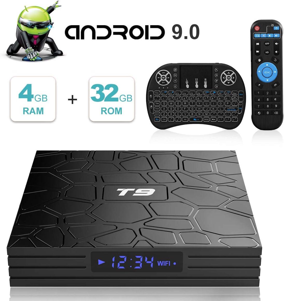Android TV Box, T9 Android 9.0 TV Box con Mini Teclado inalámbrico 4GB RAM 32GB ROM RK3318 Bluetooth 4.0 Procesador Quad-Core Cortex-A53 2.4/5.0GHz WiFi Compatible con 4k2k Ultra H.265 Smart TV Box