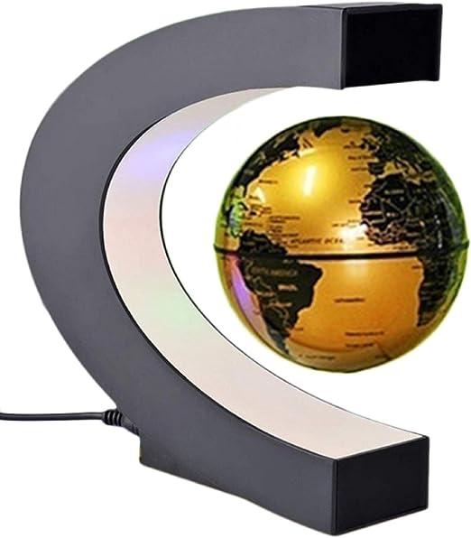 C Shape LED World Map Magnetic Levitation Floating Globe Rotating Light Decor