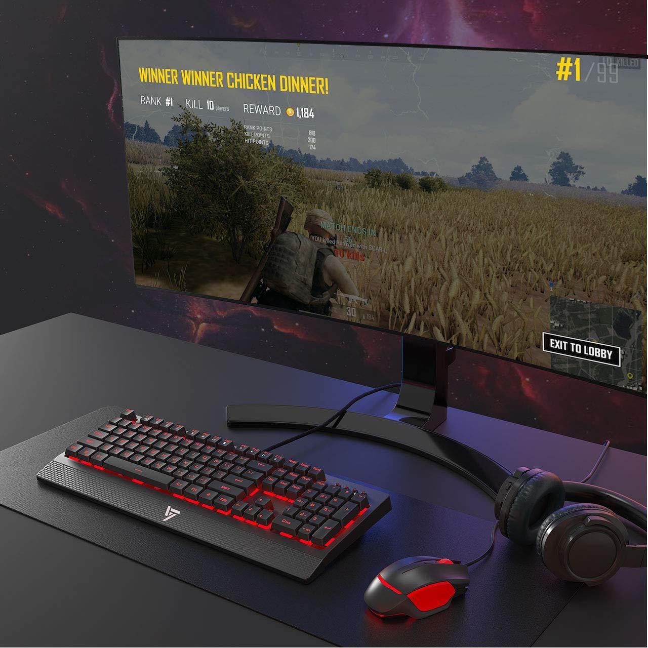 VicTsing teclado Gamers mecánico AZERTY Interruptor Rojo retroiluminada LED con dispositivo 104 teclas, entrada gaming Anti-ghosting y antisalpicaduras, ...