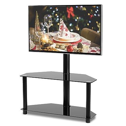 Amazon Com Rfiver Black Corner Floor Tv Stand With Swivel Mount