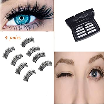 caf9f110a06 Amazon.com : 8Pcs False Eyelashes Multipack Wispies Magnetic Eyelashes  Natural Magnets with Newest Magnet Design for Makeup Ultra-Thin Reusable  Black 002 : ...