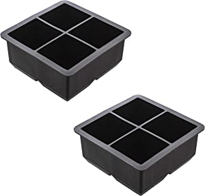7Penn Silicone Ice Cube Mold 8 Cubes Black, 2pk - Large Ice Set Rubber Ice Cube Trays Flexible Ice Mold for Food, Drink