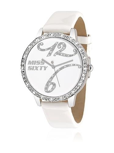 Miss Sixty R0751104505 - Reloj para Mujer de Cuero Resistente al Agua Blanco: Amazon.es: Relojes