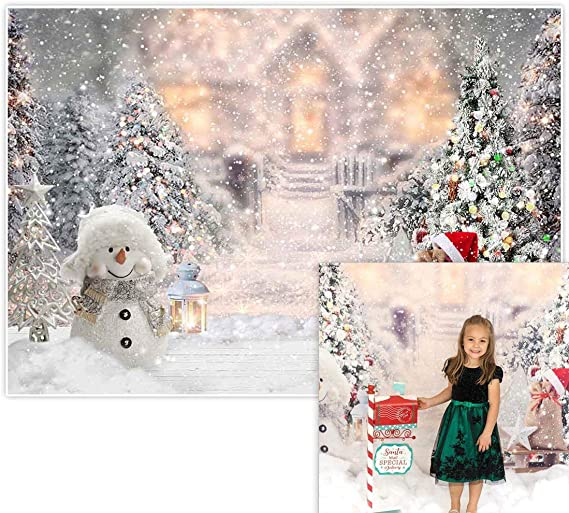Cute Snowman in Red Hat Scarf White Pine Trees Bokeh Snowflakes Backdrop Vinyl 10x7ft New Year Christmas Background Child Kids Adult Portrait Shoot New Year Xmas Celebration Party Banner