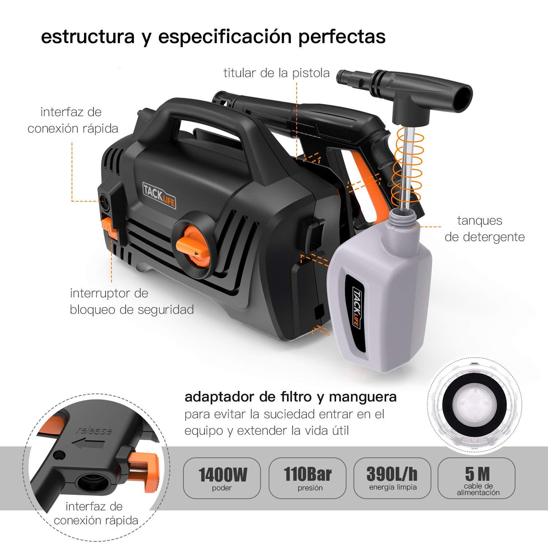 TACKLIFE Hidrolimpiadora, 110bar 1400W 390L/H Motor de Cobre Y 3 boquillas, 5 Metros Cable, 5m Manguera, Portátil Electrica Limpiadora de Alta Presión, ...