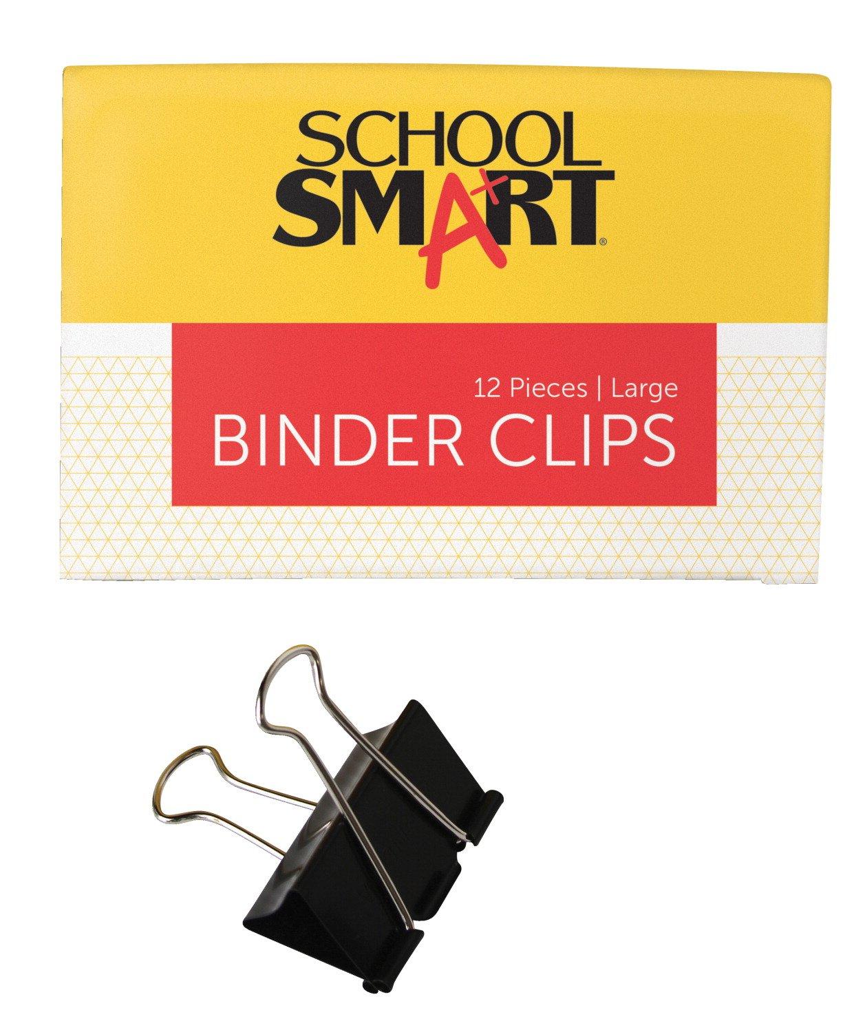 School Smart Binder Clips - Large - Pack of 12