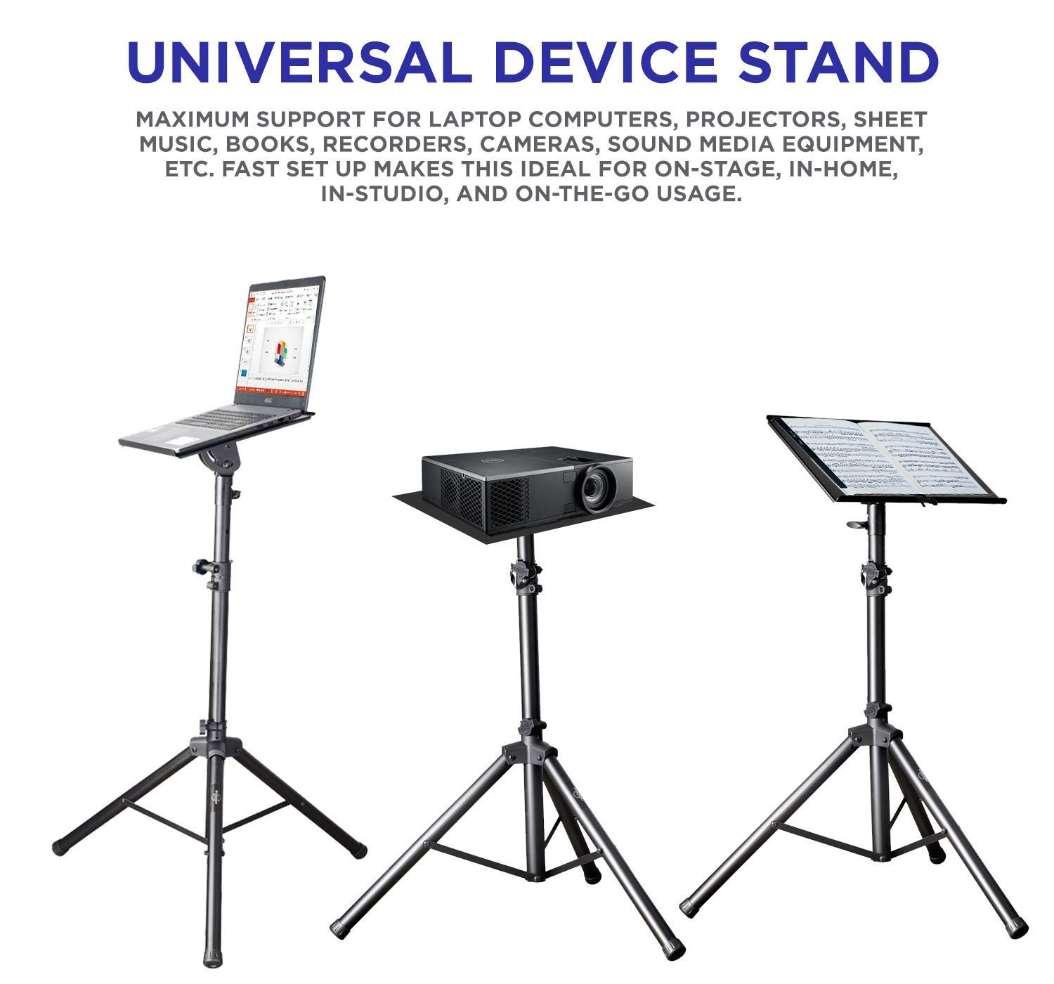 Professional Adjustable 32.3'' - 52'' Laptop DJ Mixer Tripod Stand | Lightweight & Portable 15.3'' x 12.2'' Tilted Tri-Pod Tray for Processors, Audio Controllers & Tablets | Raised Edges for Protection by STARUMENT (Image #7)