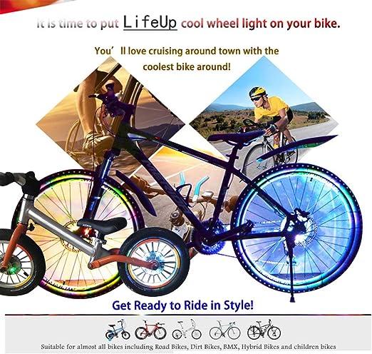 LifeUp Recargable Luces de Rueda de Bicicleta, Luces de neumático ...