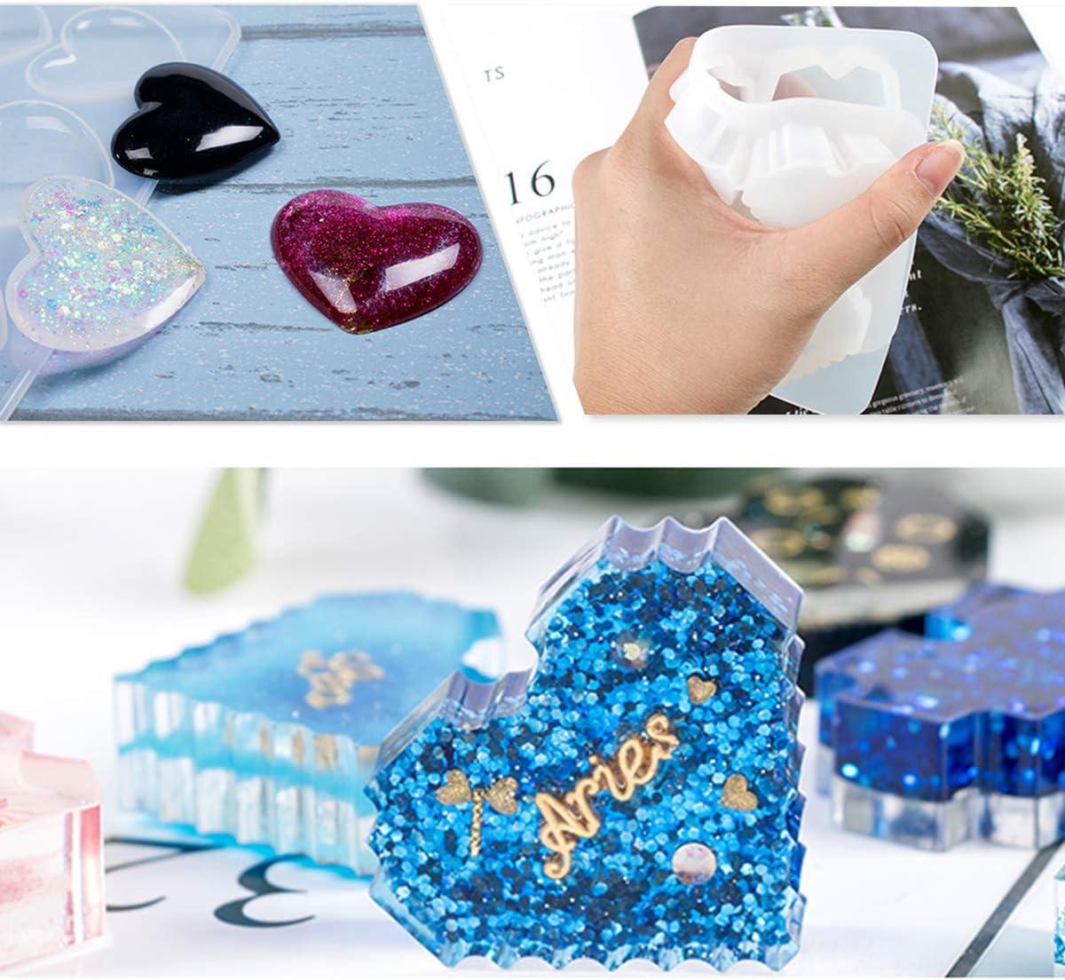 9 grilles + Pixels iSuperb Moule en Silicone R/ésine Moule pour Bijoux Forme de c/œur DIY Outils Resin Molds
