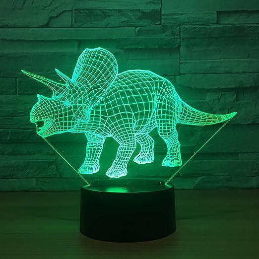 Lina Ilusión 3D Luces Nocturnas, Triceratops Lámparas de ...