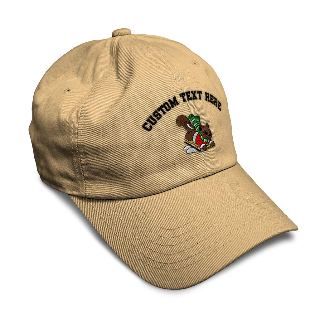 Custom Soft Baseball Cap Christmas Squirrel with Sled Embroidery Twill Cotton