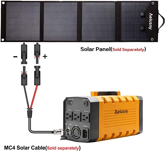 Aeiusny Solar Panel Cable MC4 Connector Adapter Cable Portable Inverter Generator UPS Battery Backup Solar Charging