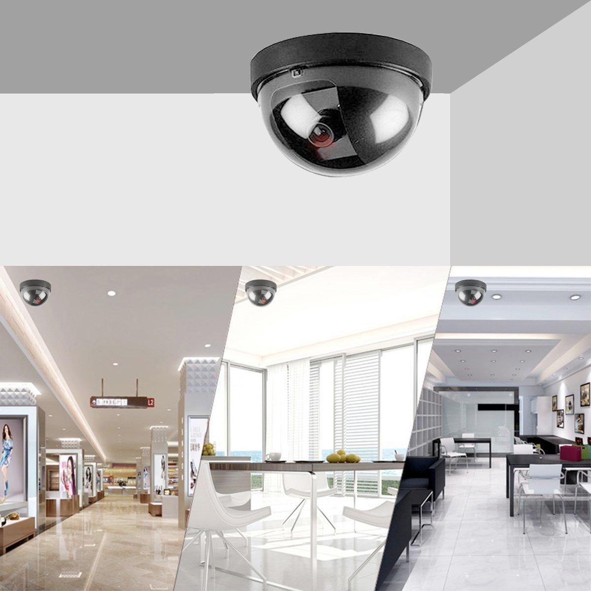Maxesla 4 Pieza Cámara Falsa Dummy Cámara de Seguridad Vigilancia Falsa LED Parpadeante Inalámbrico Impermeable Sistema de Vigilancia Cámara Simulada CCTV ...