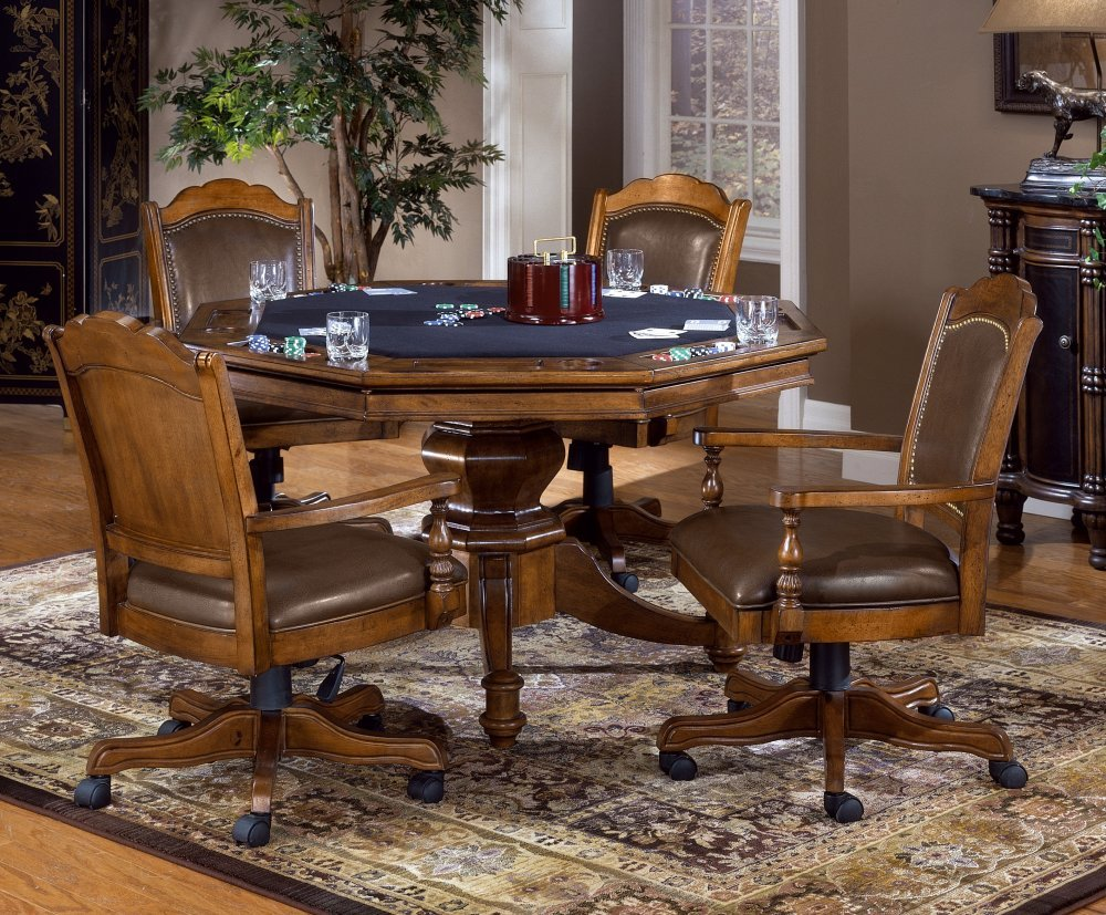 Amazon.com: Nassau 5 Piece Game Set W/Leather Back Game Chair: Kitchen U0026  Dining