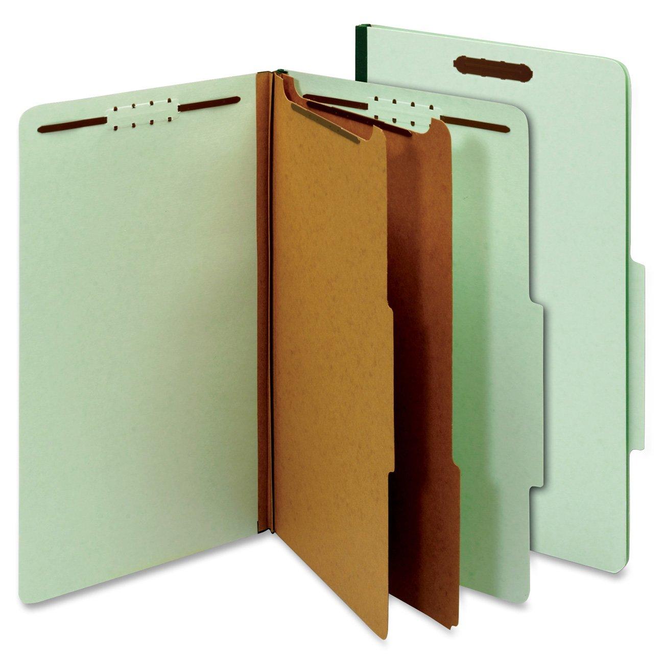 Globe-Weis 29076 Pressboard Clasificaci-n Carpetas-6 Cierres-2.5-Cut Legal-Green-10/Box