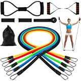 SiFREE Resistance Bands Set, 5 Packs Resistance Tubes Bands Include 1 Free 8-Shape Resistance Cord, Door Anchor, Foam Handles, Ankle Straps, Waterproof Carrying Bag