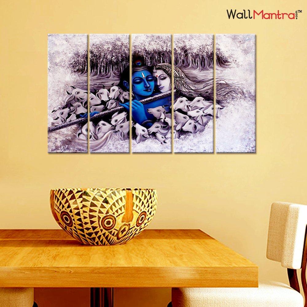 Amazon.com: WallMantra Radha Krishna Romantic Romantic Wall Painting ...