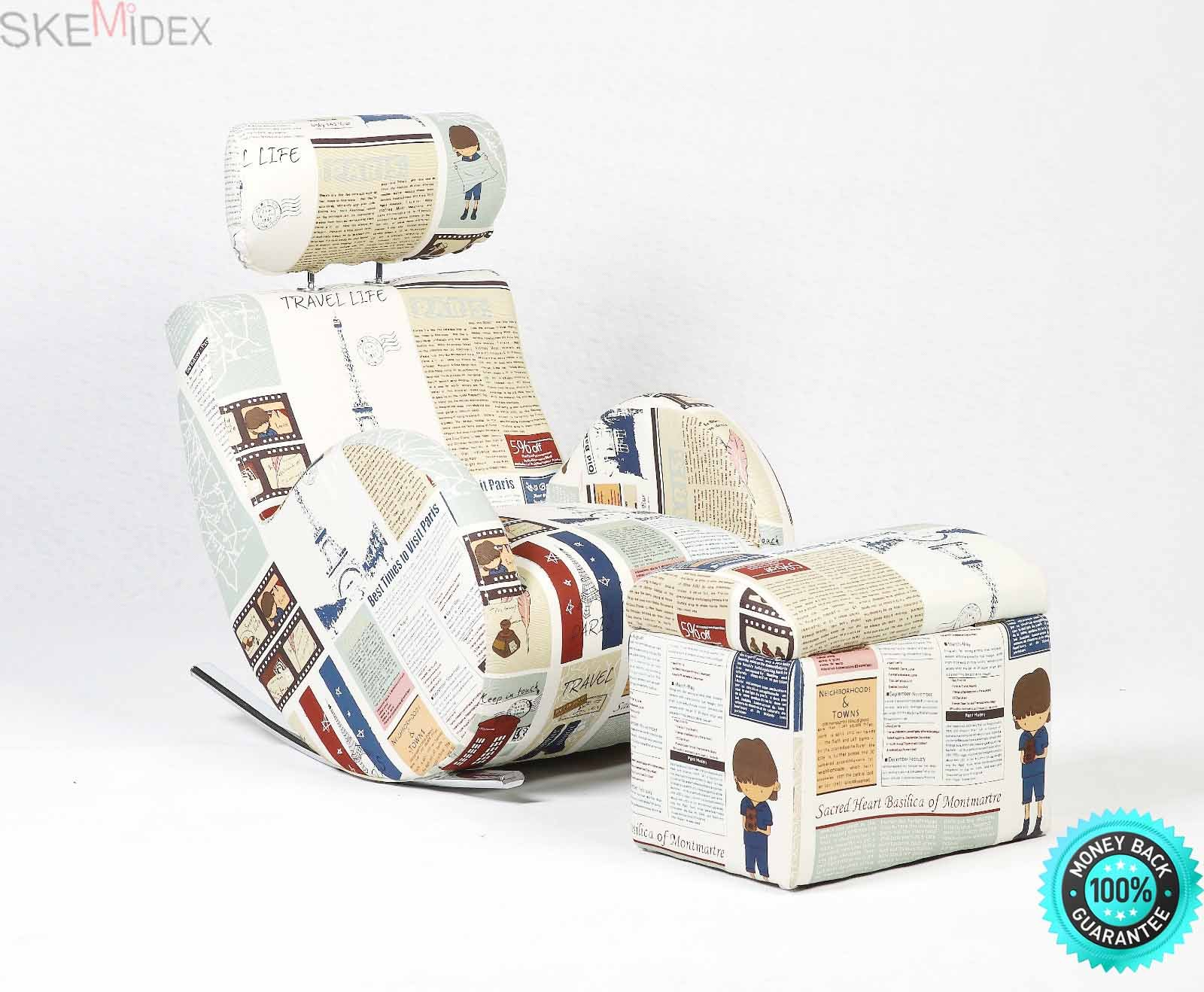 SKEMiDEX---Kids Sofa Sets Rocking Storage Armchair Lazybones Canvas Furniture w/ Ottoman Children's rural style sofa makes a great reading seat or for putting your feet up in front of the TV
