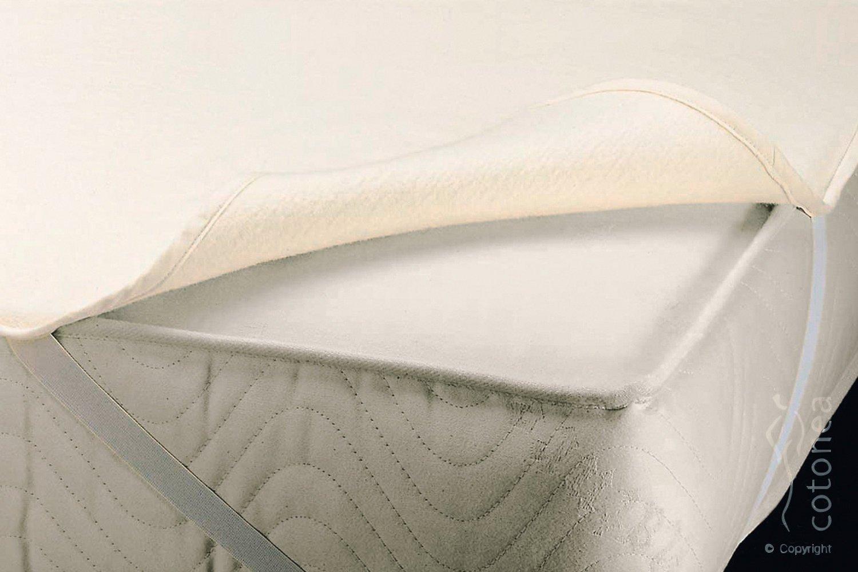 Cotonea Matrazenschutzauflage mit Eckgummis 140x200, natur, Bio Baumwolle