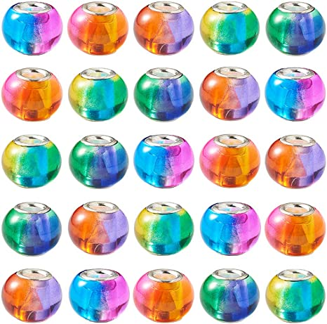 100pcs Polymer Clay European Beads Large Hole Rondelle Mixed Color 15mm