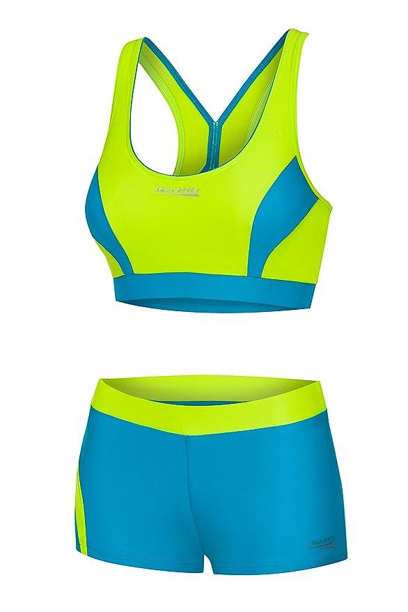 Bikini deportivo amarillo neón para mujer