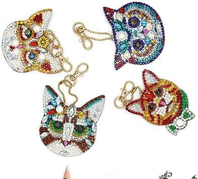 Silverbirdly Lot de 4 Porte-cl/és en Forme de Diamant pour d/écoration de Chat