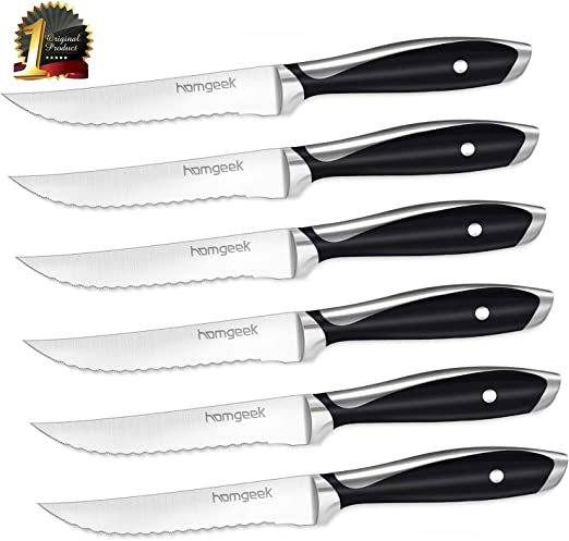 homgeek Cuchillos de Carne, Juego de 6 Cuchillos de Mesa de Acero ...