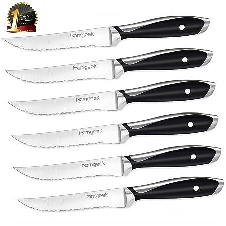 homgeek Cuchillos de Carne, Juego de 6 Cuchillos de Mesa de Acero Inoxidable, Cuchillos de Mesa de Alta Calidad, Cuchillos de Filete Cuadrado Estilo ...