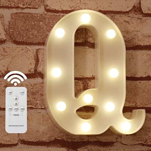 Pooqla LED Marquee Letter Lights Alphabet Light Up Sign with Wireless Timer Remote Control Dimmable for Wedding Home Party Bar Decoration - RC - Q
