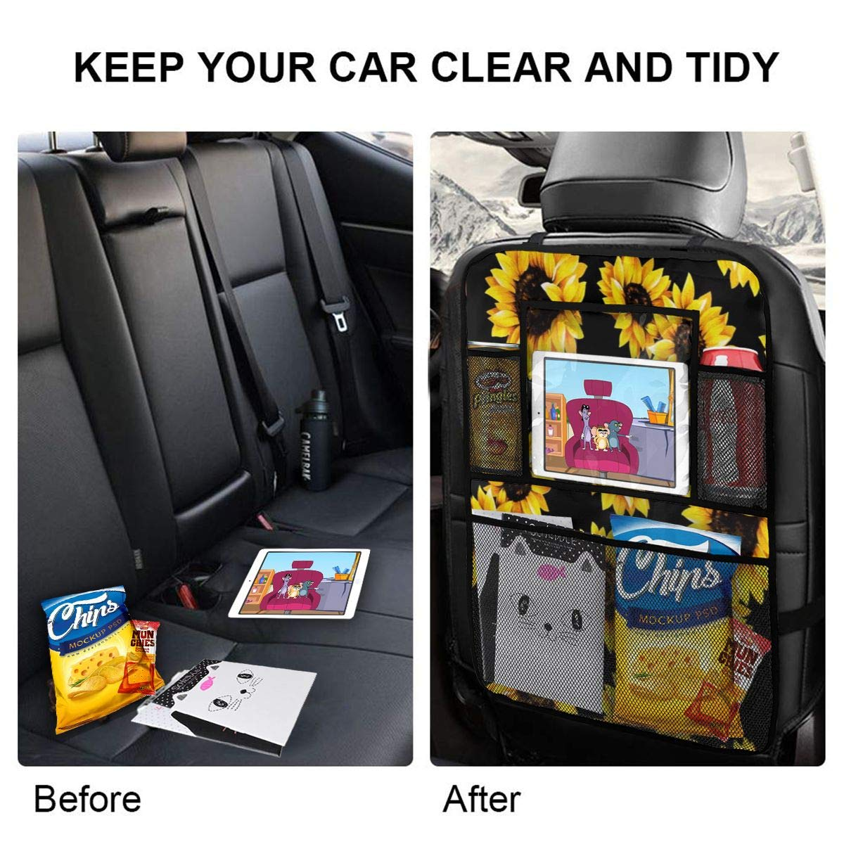TianHeYue Sunflower 2 Pack Car Seat Organizer Back Seat Protector Large Storage Pockets Universal Fit