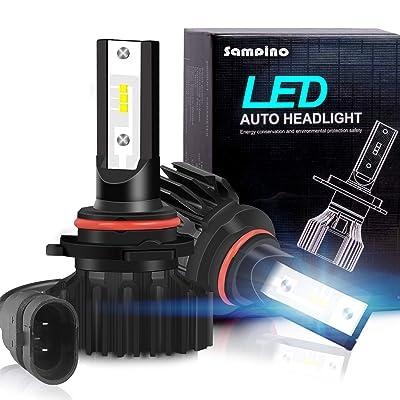 Sampino 9005/H10/HB3 LED Headlight Bulbs All-in-One Conversion Kit 2Packs High Beam/Fog Light Bulb(9140/9145/9040/9045) 8000LM 5500K 12xCSP Chips Cool White: Automotive [5Bkhe1509003]