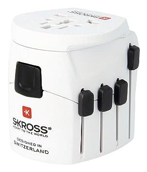 Skross Pro-World - Adaptador de Viaje con 3 Polos y Sistema de ...