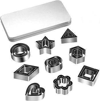 27PCS Mini Cookie Cutters, Geometric Shapes Metal Cookie Biscuit Cutter Set, Star Flower Hexagon Rou…