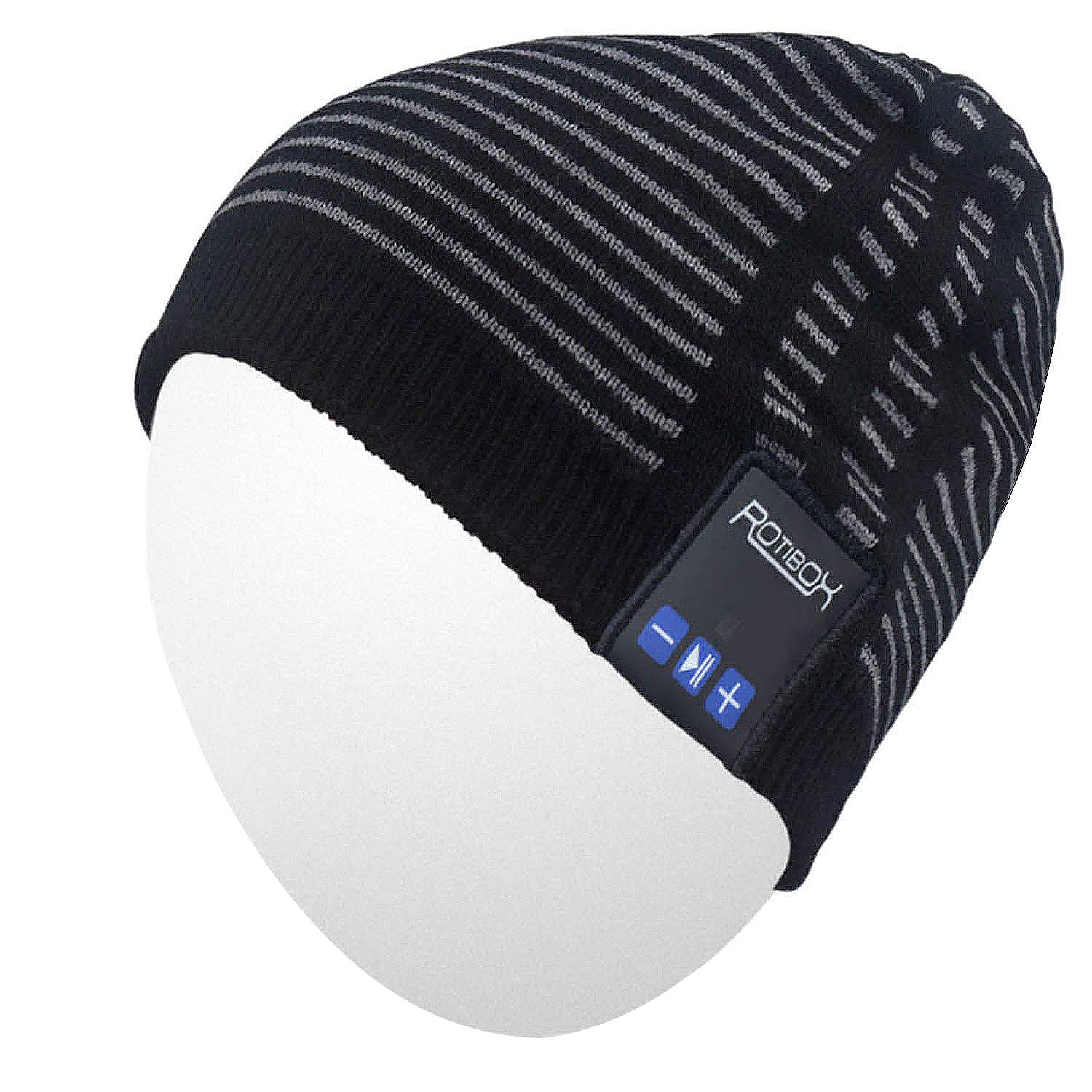 Qshell Trendy Warm Soft Knit Slouchy Music Beanie Skully Hat w/Wireless Stereo Headphones Mic Hands Free Rechargeable Battery for Fitness Outdoor Sports Skiing Running Skating Walking-Black