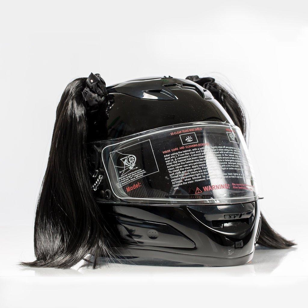 Stick On Motorcycle Helmet Pigtails Ponytails (Red) Shopena Pigtails-Red